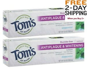 2 Pack Toms of Maine Antiplaque Whitening No Fluoride Toothpaste Peppermint 5oz