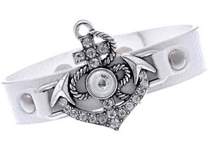 White Faux Leather Anchor Glory Sealife Arrows Rhines Studded Wrist Band