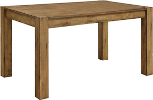 Rustic Solid Wood Dining Table Desk Block Leg Farmhouse Home Style Vintage Look