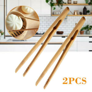 2Pcs Wooden Toast Tongs Toaster Bacon Cooking BBQ Food Bread Tong Kitchen Tools