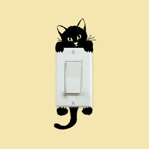 10pcs DIY Cute Black Cat Switch Decal Wallpaper Wall Stickers for Home Decor New