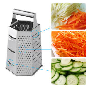 Cheese Grater - Vegetable Slicer Stainless Steel - 6-sides - 9 Inches Height