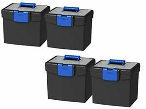 Storex Portable File Box, with Lockable XL Supply Storage Lid and Carry Handl...