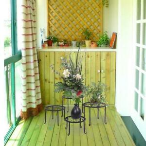 4pcs Metal Outdoor Indoor Pot Plant Stand Garden Decor Flower Rack Holder Round $29.99