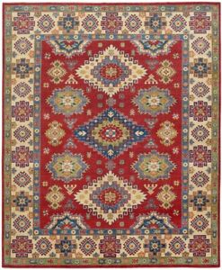 South-western Red/Ivory Super Kazak Oriental Area Rug Hand-Knotted 8x10 Wool