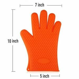 Karp Silicone Baking & Bbq Insulated Oven Gloves, Sold By Pair - Orange Color