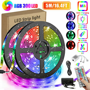 16.4FT RGB Flexible 300LED Strip Light SMD Remote Fairy Lights Room TV Party Bar $12.88