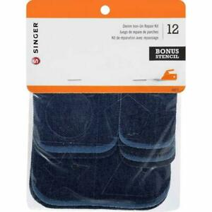SINGER Denim Iron On Repair Kit Assorted Sizes Patches Authentic Cotton $8.63
