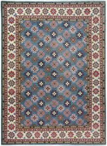 Geometric BLUE/IVORY Hand-Knotted Super Kazak Wool Oriental Area Rug 9x12 Carpet