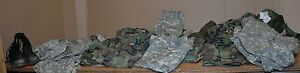 Large lot of US military used surplus clothing pants shirts boots bags amp; more