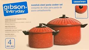 NIB Gibson Everyday Casselman Nonstick Steel 4 PC PASTA COOKER SET StrainersLids