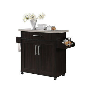 Hodedah Wheeled Kitchen Island with Spice Rack and Towel Holder Chocolate Gray $99.99