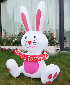 VIVOHOME 4#x27; Inflatable Happy Easter Bunny Rabbit Colorful LED Light Yard Decor $37.43
