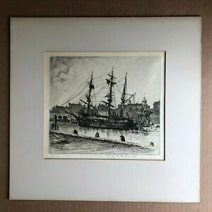 Orig. Signed Etching GEORGE T. PLOWMAN (1869-1932) 3 Masted Ship