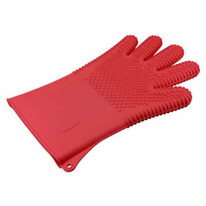 BBQ Grilling Gloves Oven Large Mitts for Cooking Baking Barbecue Potholder Red