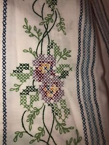 JP Stevens FULL Fitted & Flat Sheets Multi Color Floral Embroidery Look