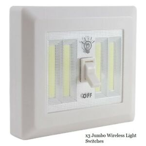 x3 LitezAll COB LED Jumbo Cordless Light Switch Night Light Install Anywhere