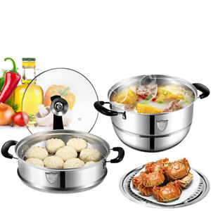 2 Tier Food Steamer Steaming Pot Pasta Noodles Cooker with Clear Lid Set