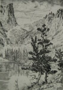 LISTED Lyman Byxbe (1886-1980) ORIG. Pencil Signed DREAM LAKE Etching #2 NO RES