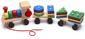 Montessori Educational Wooden Toy Train with Figures for Babies Toddlers, Gifts
