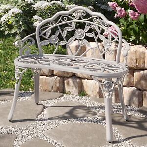 Rose Style Love Seat Bench White Cast Iron Antique Designed Outdoor Patio Porch $135.99