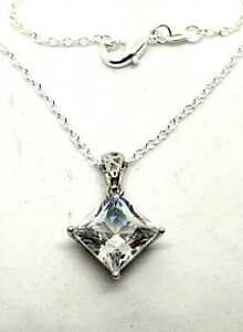 Jarkan Crystal Diamond Pendant Necklace Silver Plated Chain 20quot; Length Lovely..