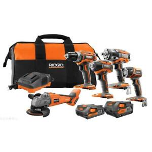 RIDGID Cordless 5 Tool Combo Kit 18 Volt Lithium Ion 4.02.0 Ah Battery Charger