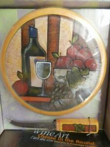 Wine Art Cheese in the Round Cheese Cutting Board & Serrated Knife