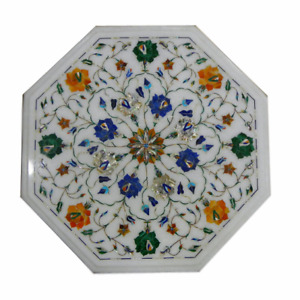 12quot; side corner Marble white Table Top Pietra dura Inlay Furniture Decor gift