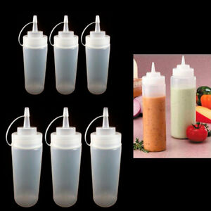 6 Clear Plastic Squeeze Bottle 12Oz Condiment Ketchup Mustard Oil Mayo Dispenser