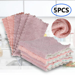 Super Cloth Household Microfiber Absorbent Cleaning Kitchen 5pcs Dish Towel Set