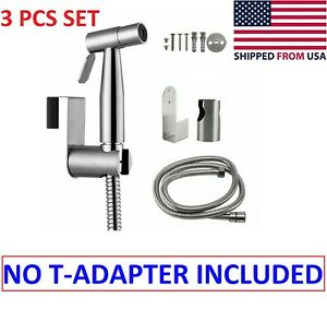Stainless Steel Handheld Bidet Sprayer Shower Toilet Shattaf Adapter Hose kit BC