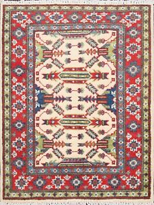 2x3 Super Kazak Geometric Area Rug Wool Hand-Knotted Classic Oriental Ivory/Red