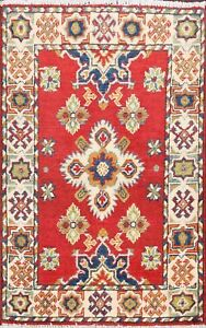 RED/IVORY Hand-Knotted Super Kazak Geometric Oriental Area Rug Wool Carpet 2x3
