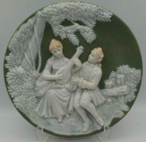 Ucagco Japan 3D Art Victorian Couple Wall Hanging Plate 9 3/8