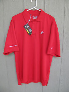 NEW UNDER ARMOUR POLO GOLF SHIRT LARGE DEERWOOD CLUBS OF KINGWOOD TIN CUP $19.99