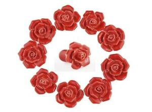 10PCS Ceramic Vintage Floral Rose Door Knobs Handle Drawer Kitchen With Screw