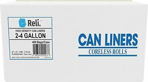 Reli. 2-4 Gallon Trash Bags (400 Count) Small Clear Garbage Bags 2 Gal - 4 Gal