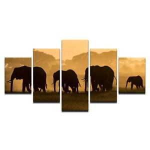 Elephant Shadow Sunset 5 Pcs Canvas Print Wall Artwork Poster Picture Home Decor
