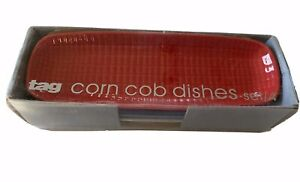 New TAG Brand Corn Cob Dishes Set of 4 With Box Red White Blue