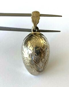 Easter Egg Scroll Etched Pendant Vintage Dainty Charm Sterling Silver 925 $45.00