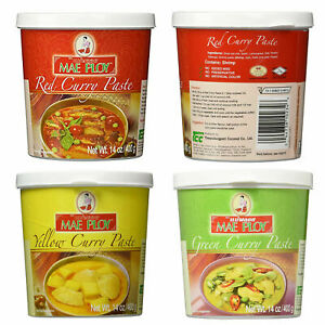 Mae Ploy Thai Green Yellow Red Curry Paste 14 oz Jar