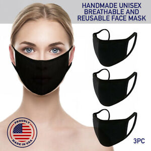 Face Mask Black Reusable 3 Pack Cover Cotton Double Layer Washable Protection