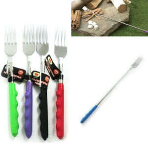 Telescopic Long Fork BBQ Tool Extendable Dinner Hot Dog Campfire Cutlery Food !