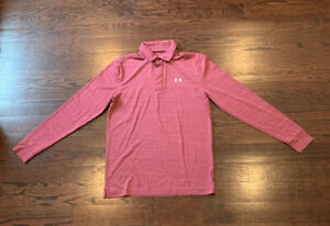 Under Armour Men's Polo Shirt Long Sleeve Size Small S Red Pink $18.00