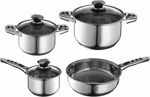 🔥5 pc Pots & Pans Professional Grade Stainless Steel Cook Ware Set+Free 2 pc