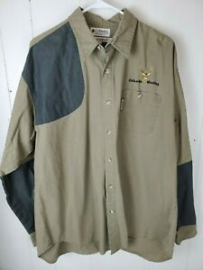 Columbia Hunting Shirt Men#x27;s Size XL Green Brown Deer Buck Emrboidered