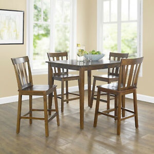 5-Piece Counter Height Table And Chairs Dining Set Kitchen Pub Breakfast Sets