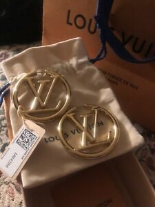 LOUIS VUITTON GOLD LOGO HOOP EARRINGS SOLD OUT!!