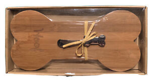 Woof Bone Shaped Small Cutting Board/Cheese Tray Wood New In Package